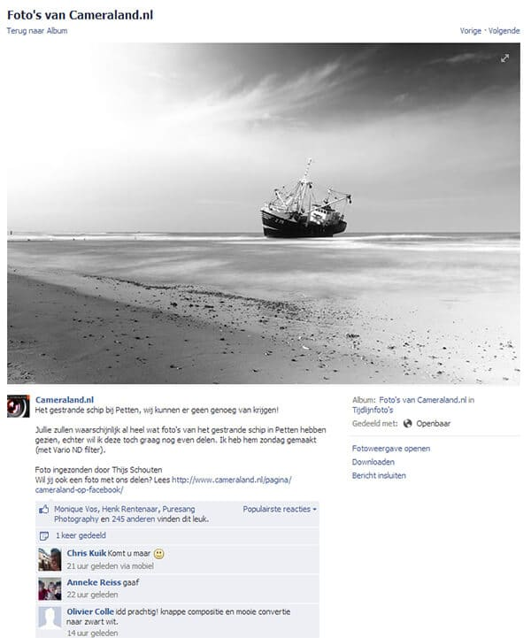Vissersboot op pagina cameraland