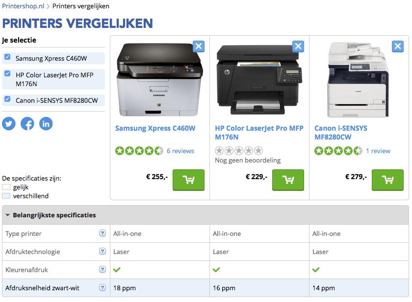 laserprinter vergelijken